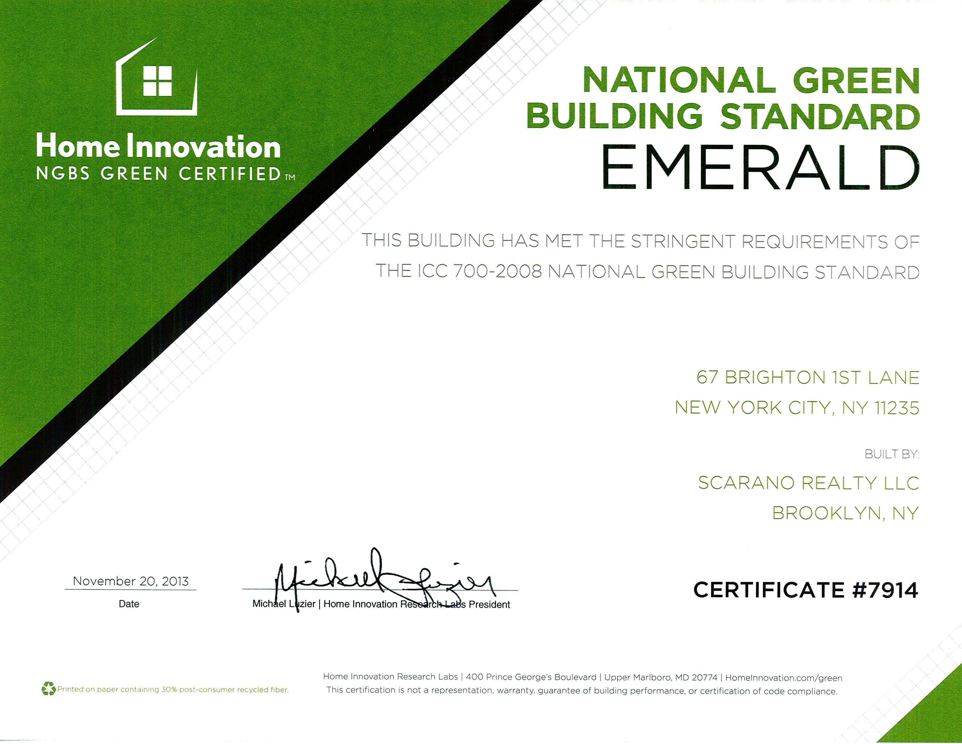 Verde Diseño de Interiores, Certificación Verde ()